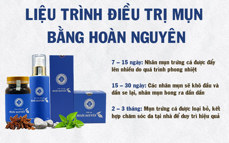 Liệu trình điều trị chung của Bộ sản phẩm Trị Mụn Trứng cá Hoàn Nguyên