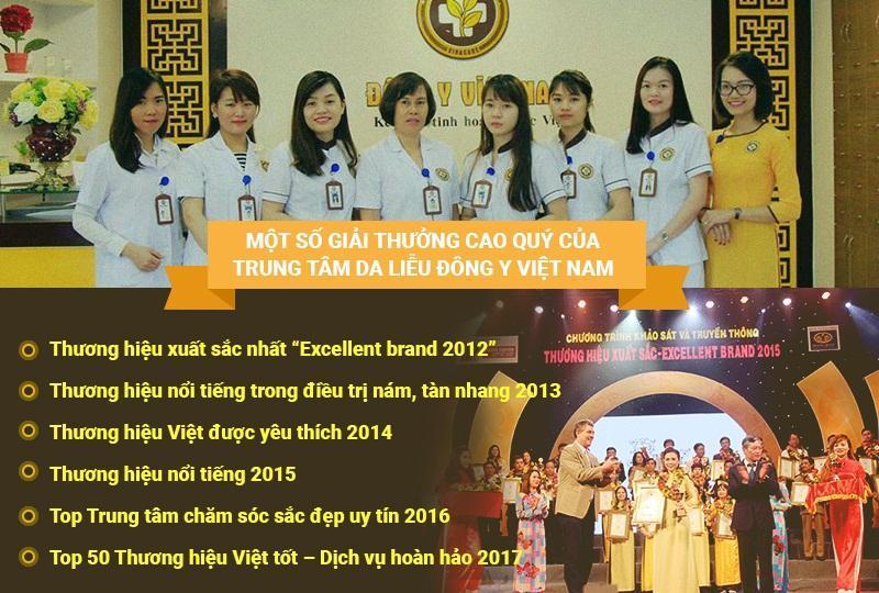 Trung tâm Da Liễu Đông Y Việt Nam là đơn vị YHCT đạt được nhiều giải thưởng danh giá