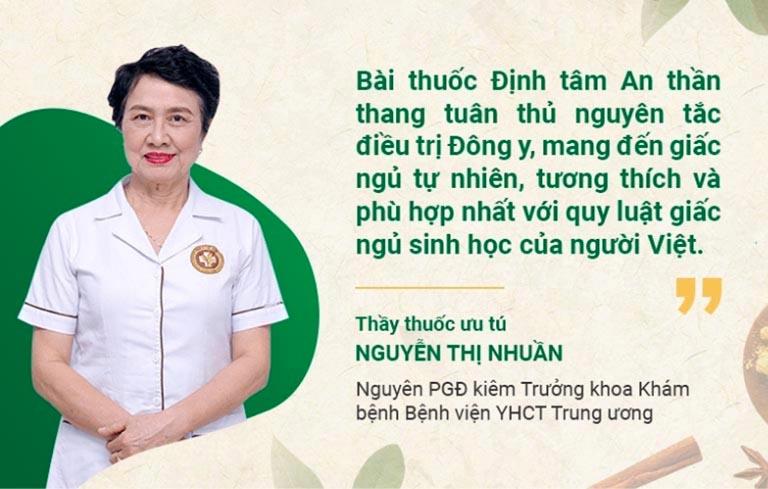 Bác sĩ Nguyễn Thị Nhuần đánh giá cao bài thuốc Định tâm An thần thang