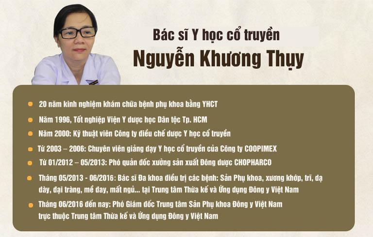 Quá trình công tác của bác sĩ Nguyễn Khương Thụy