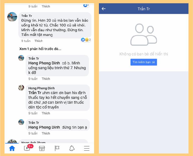 Tài khoản Trần Tr không có bất kỳ bạn bè nào trên facebook