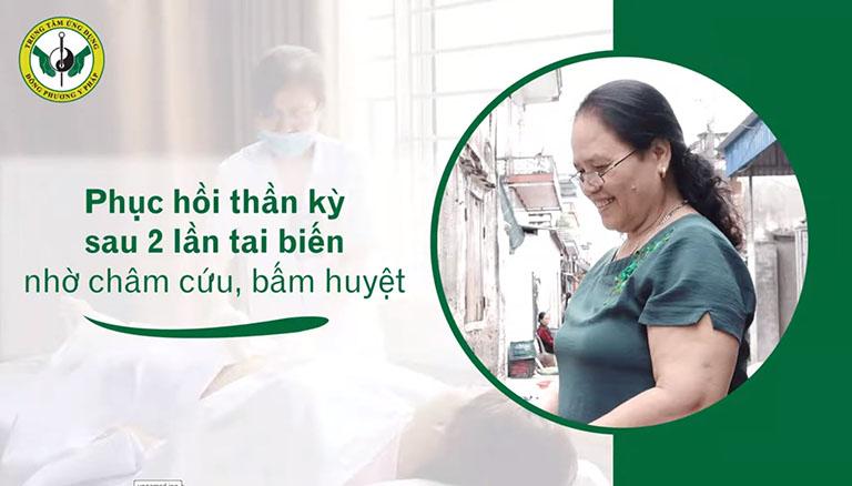 Cô Đoàn Thị Miên thực hiện trị liệu tại trung tâm