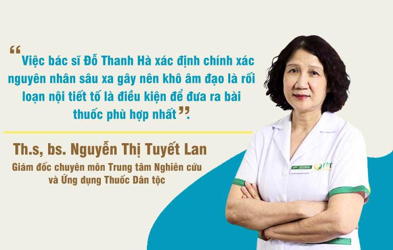 Bác sĩ Nguyễn Thị Tuyết Lan đánh giá cao cơ chế điều trị của bài thuốc