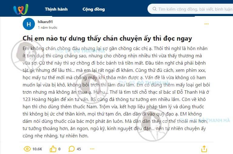 Phản hồi của khách hàng sau khi sử dụng bài thuốc điều trị giảm ham muốn nữ của bác sĩ Đỗ Thanh Hà