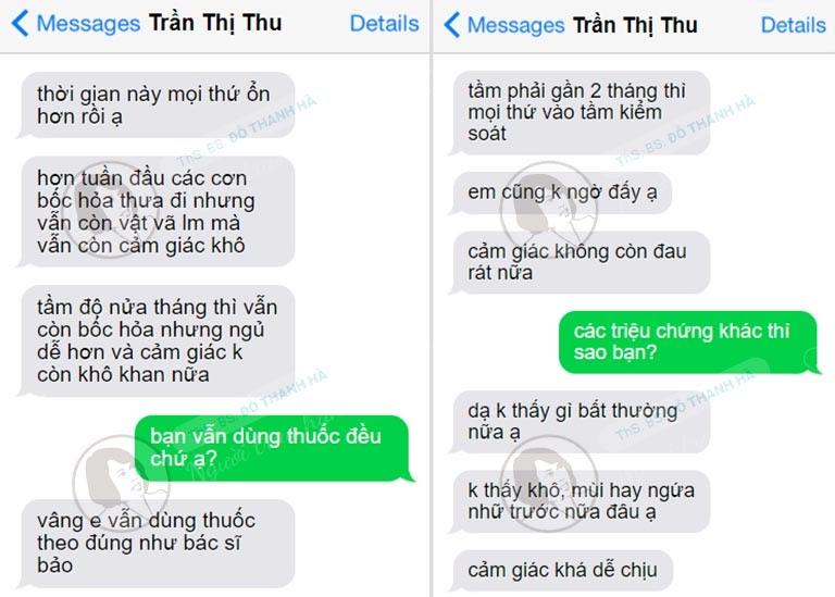 Một bệnh nhân trung niên khác phản hồi về bài thuốc nội tiết của Phòng khám Đông y Việt Nam